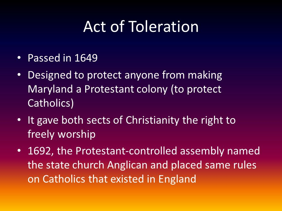 Act of Toleration Passed in 1649