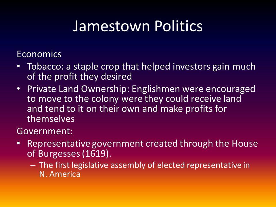 Jamestown Politics Economics