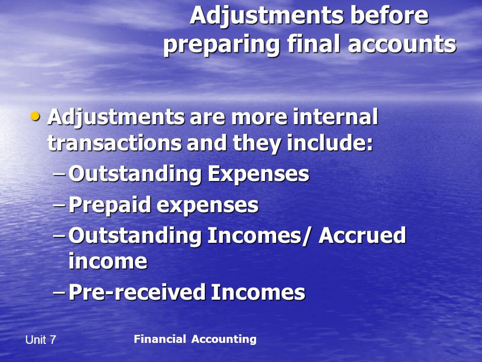 Adjustments before preparing final accounts