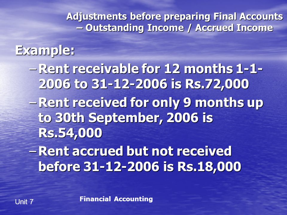 Rent receivable for 12 months 1-1-2006 to 31-12-2006 is Rs.72,000