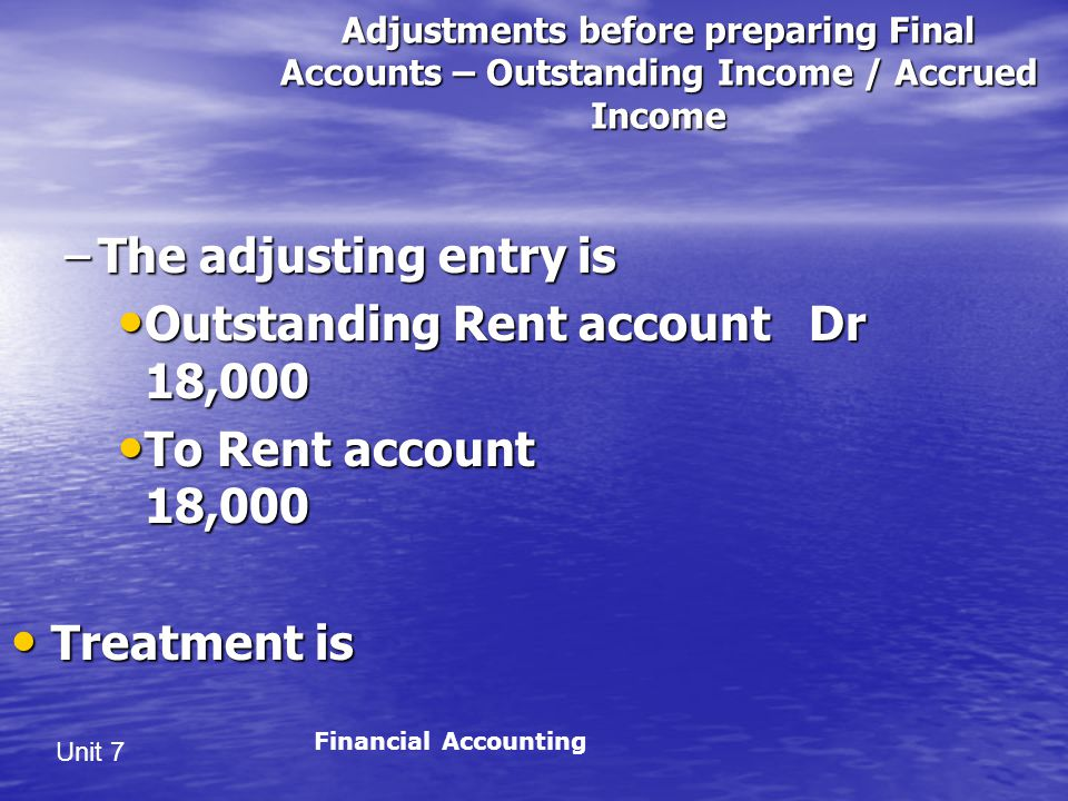 Outstanding Rent account Dr 18,000 To Rent account 18,000