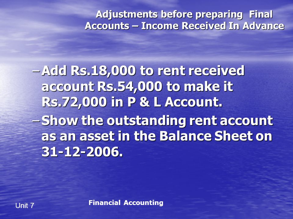 Adjustments before preparing Final Accounts – Income Received In Advance