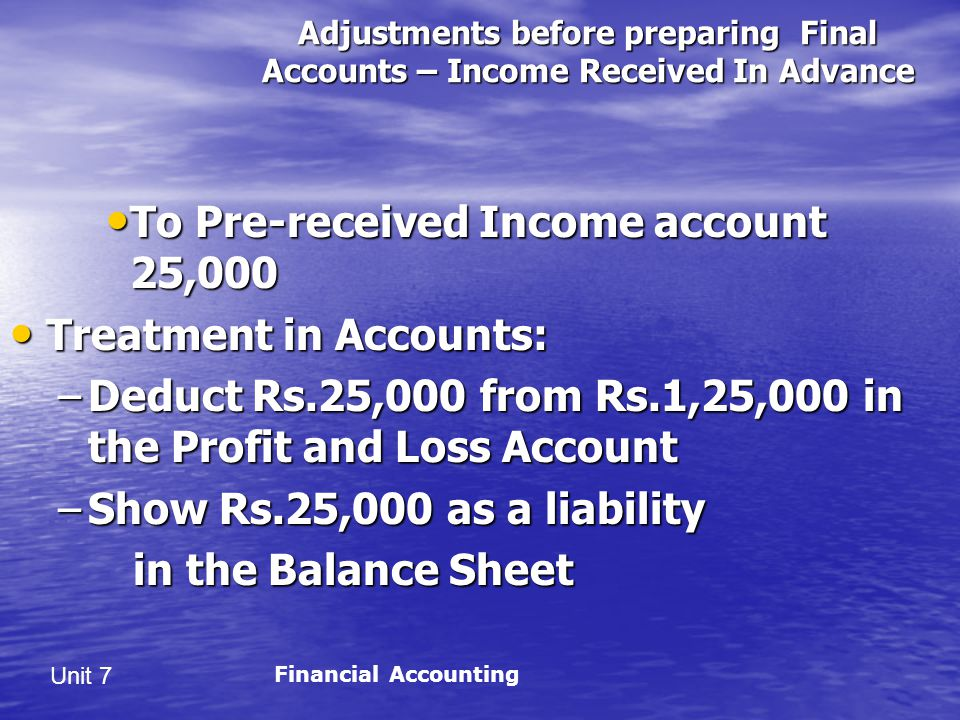 To Pre-received Income account 25,000 Treatment in Accounts: