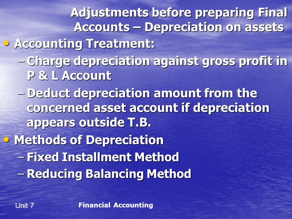 Adjustments before preparing Final Accounts – Depreciation on assets