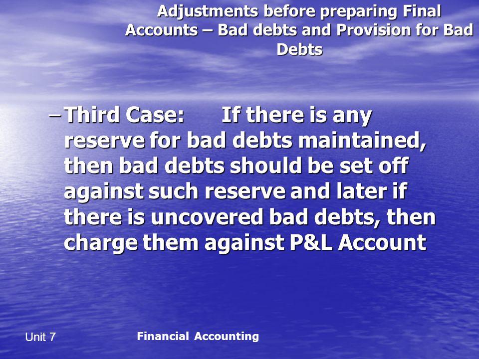 Adjustments before preparing Final Accounts – Bad debts and Provision for Bad Debts