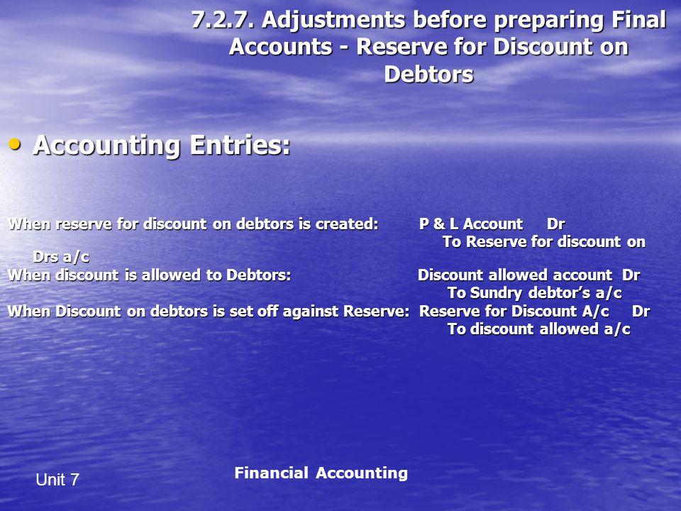 7.2.7. Adjustments before preparing Final Accounts - Reserve for Discount on Debtors