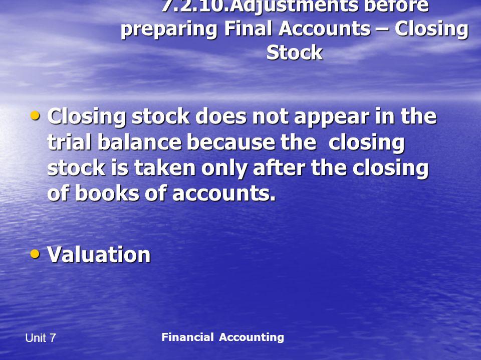 7.2.10.Adjustments before preparing Final Accounts – Closing Stock