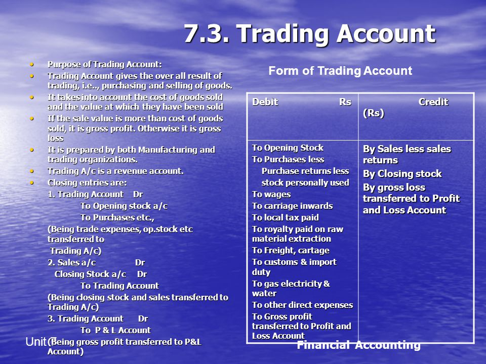 7.3. Trading Account Form of Trading Account Financial Accounting
