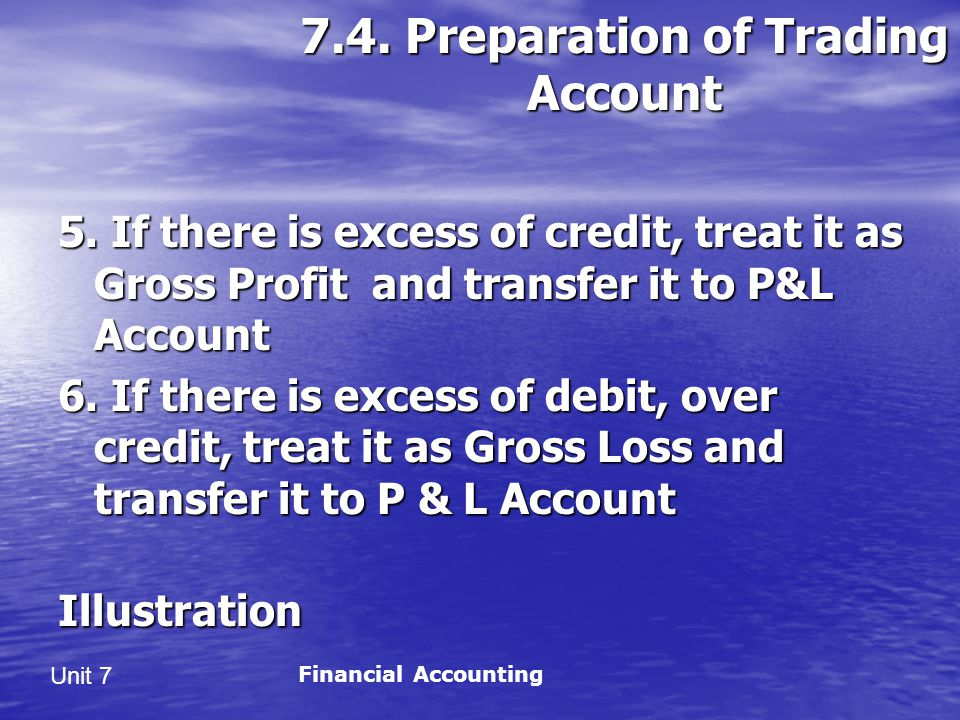 7.4. Preparation of Trading Account