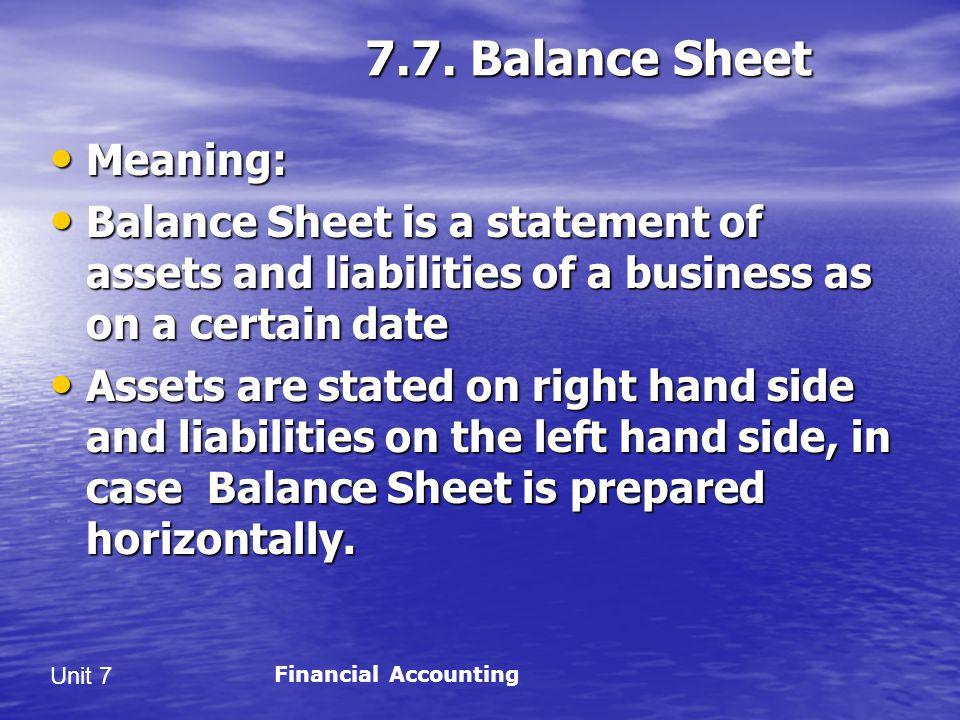 7.7. Balance Sheet Meaning: