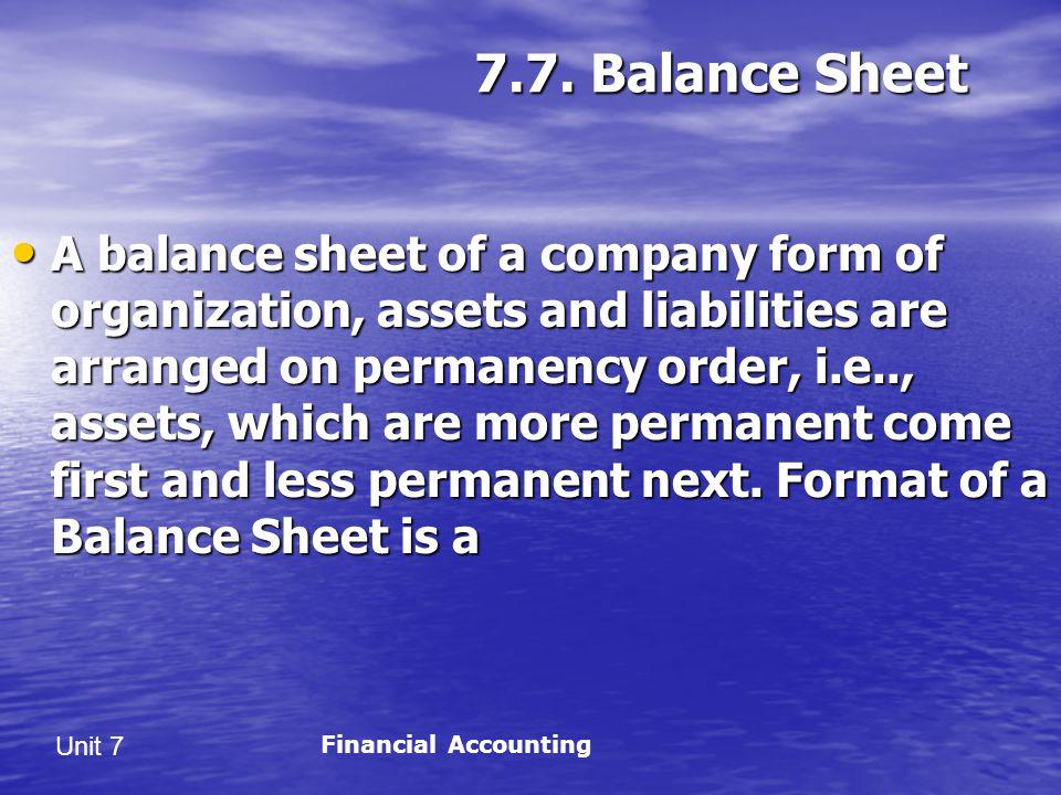 7.7. Balance Sheet