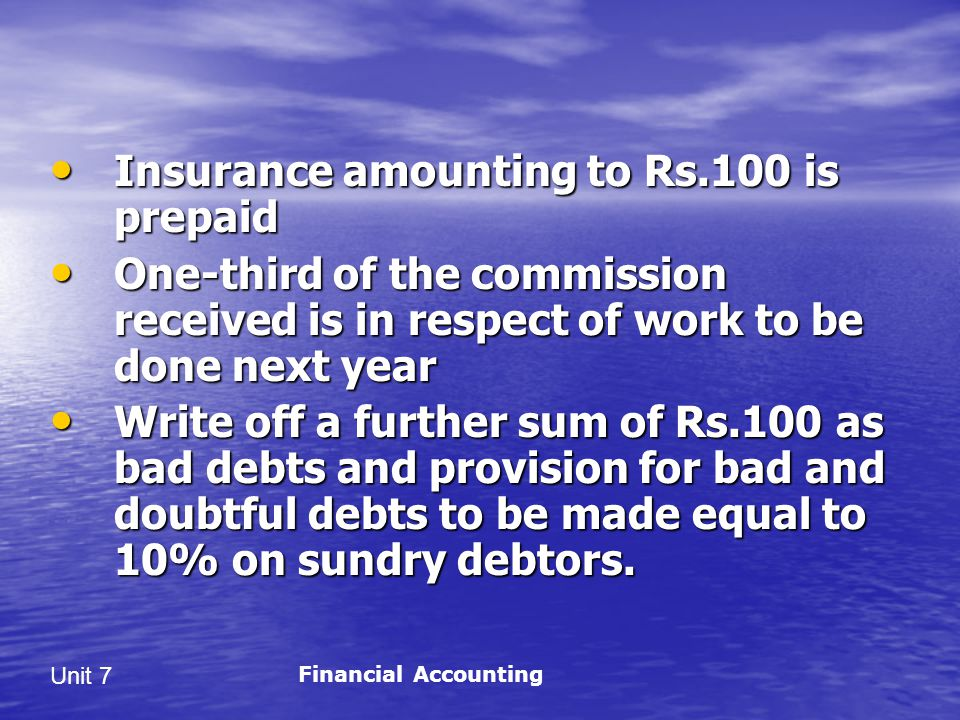 Insurance amounting to Rs.100 is prepaid