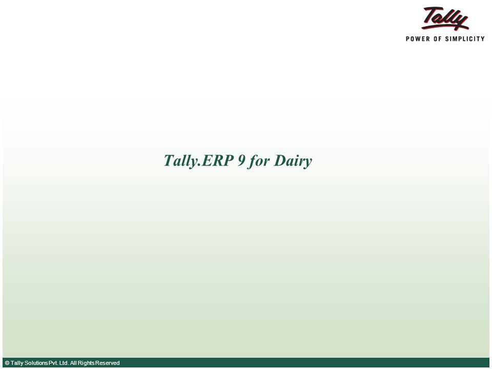 Tally.ERP 9 for Dairy