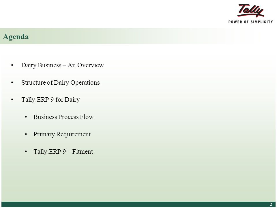 Agenda Dairy Business – An Overview Structure of Dairy Operations