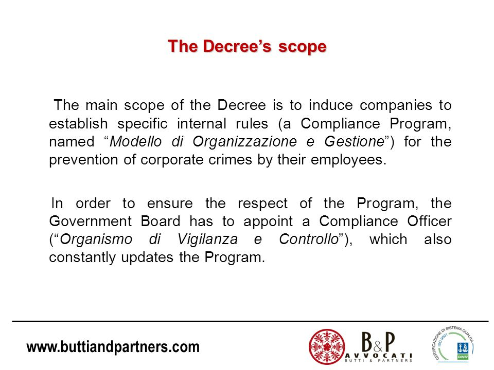 The Decree's scope