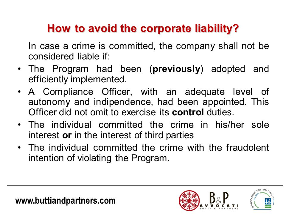 How to avoid the corporate liability