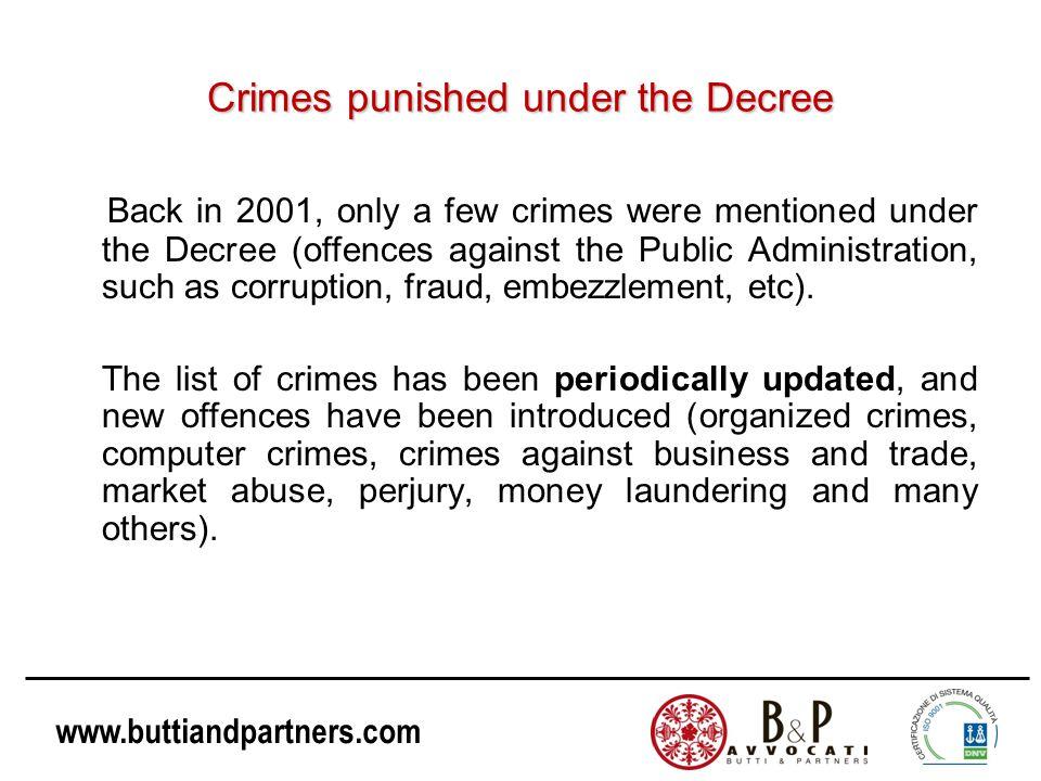 Crimes punished under the Decree