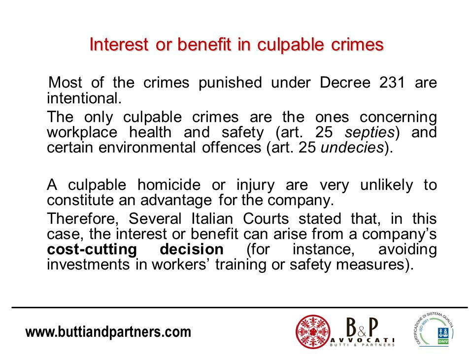 Interest or benefit in culpable crimes