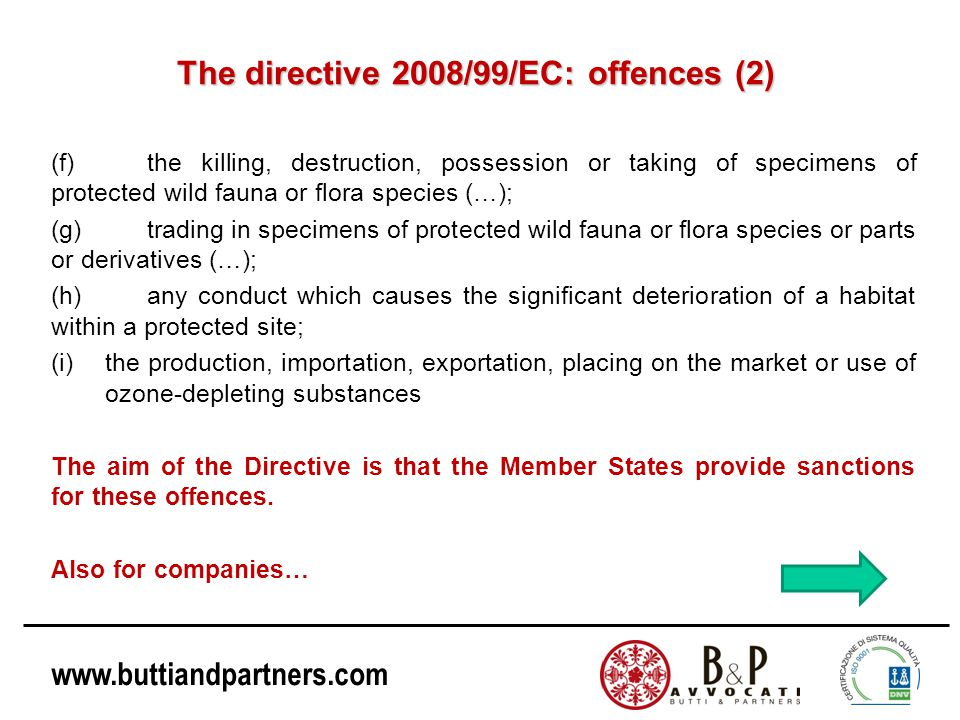 The directive 2008/99/EC: offences (2)