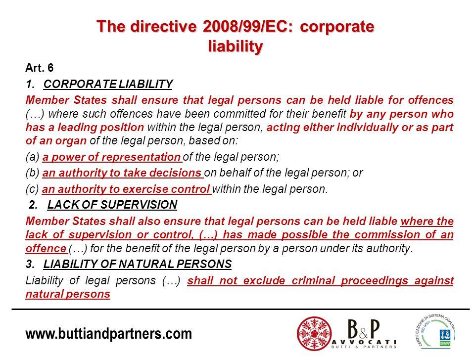 The directive 2008/99/EC: corporate liability