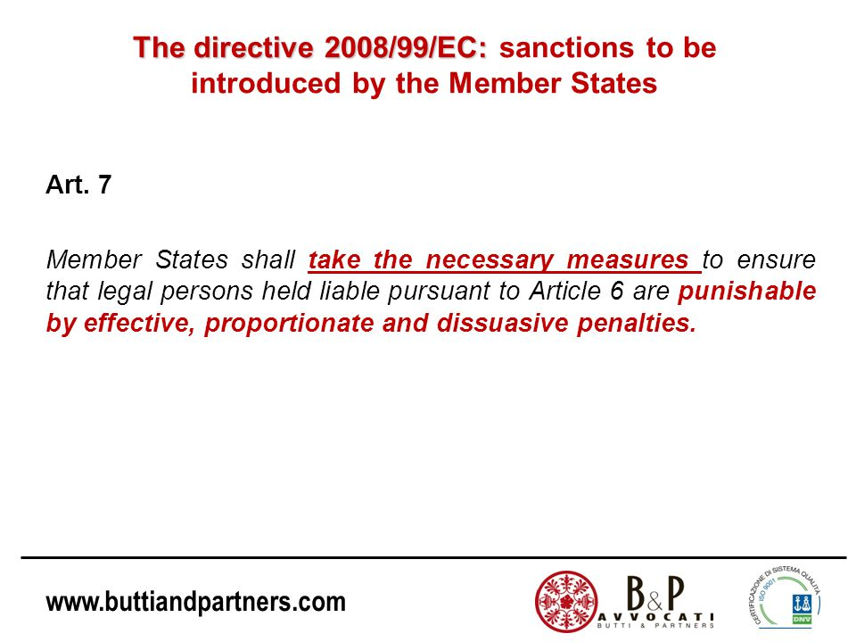 The directive 2008/99/EC: sanctions to be introduced by the Member States