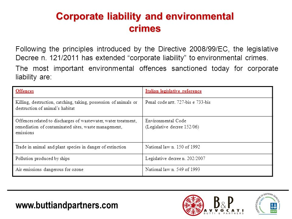 Corporate liability and environmental crimes