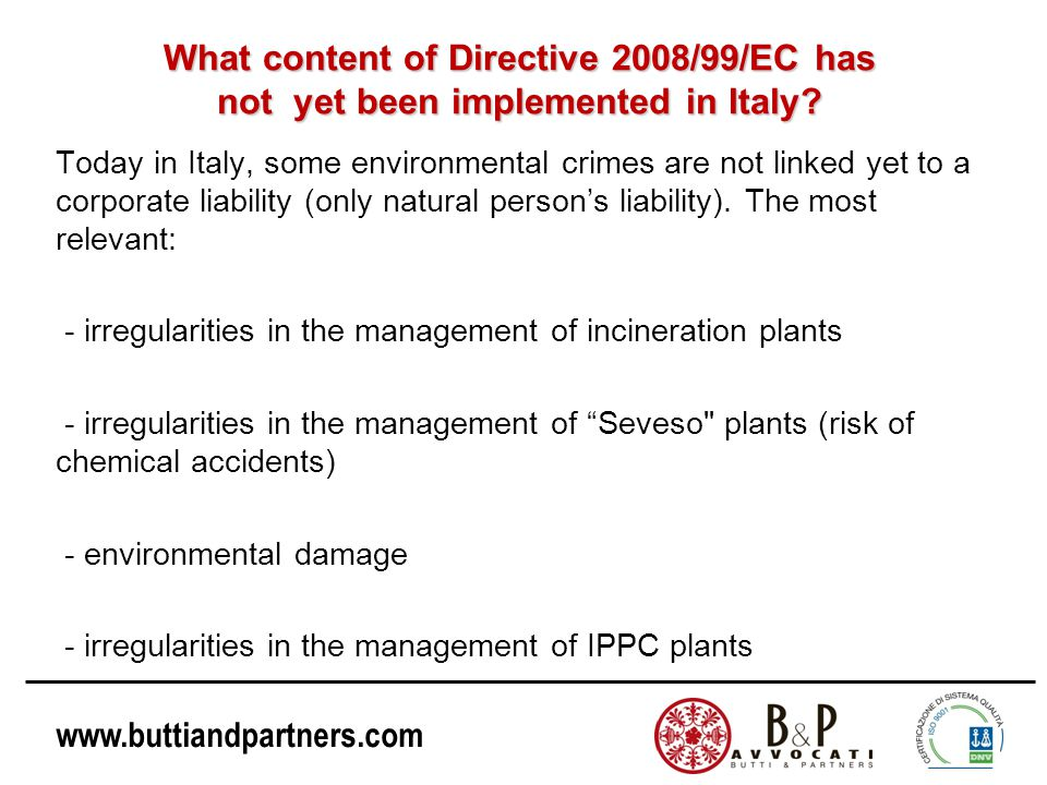 What content of Directive 2008/99/EC has not yet been implemented in Italy