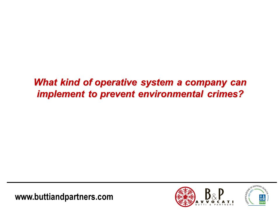 What kind of operative system a company can implement to prevent environmental crimes