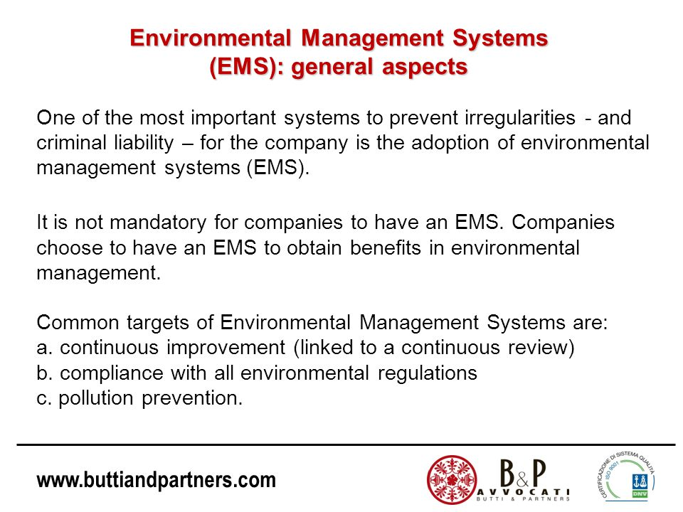 Environmental Management Systems (EMS): general aspects