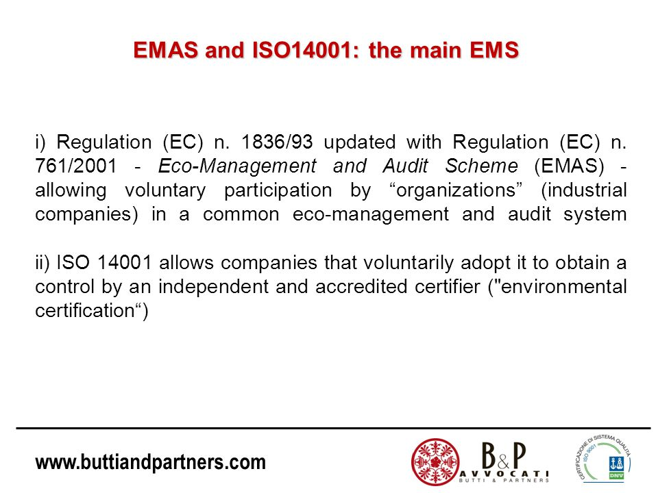 EMAS and ISO14001: the main EMS