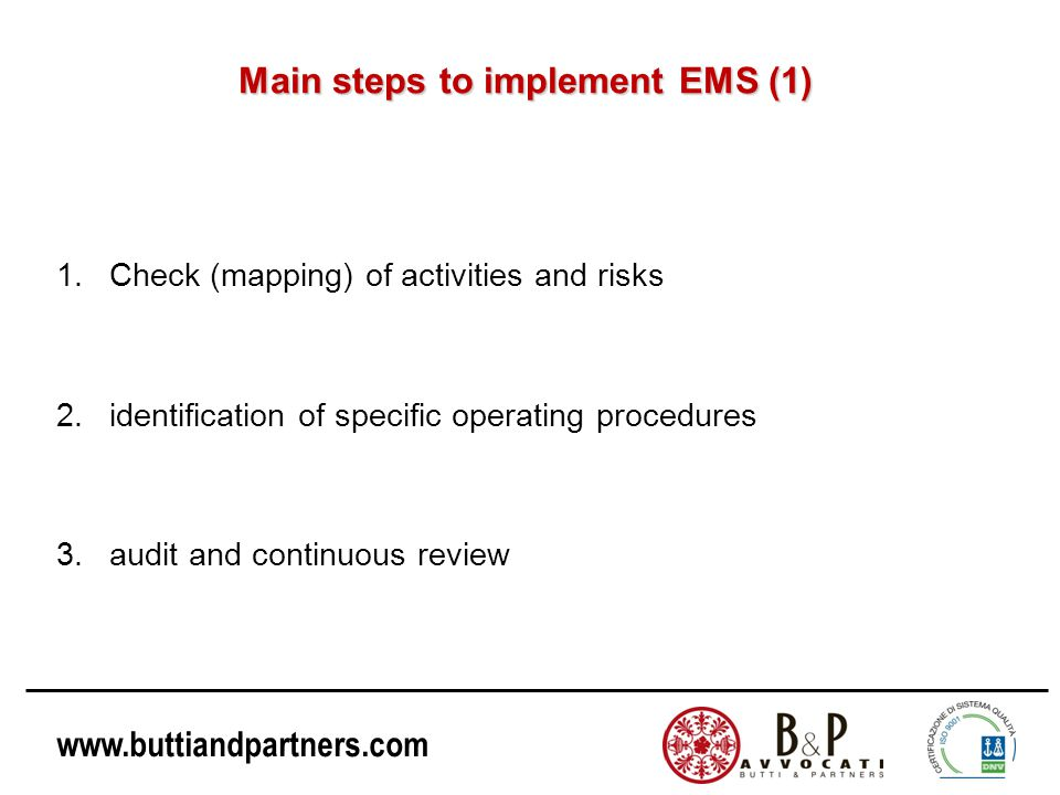 Main steps to implement EMS (1)