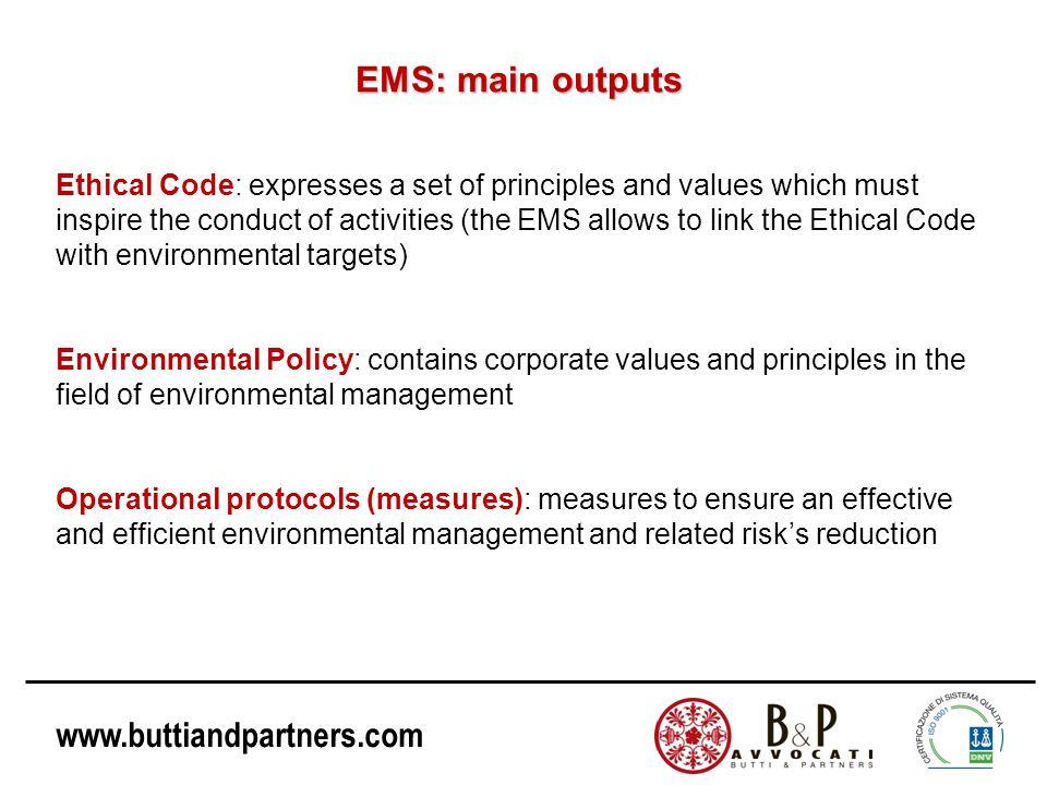 EMS: main outputs