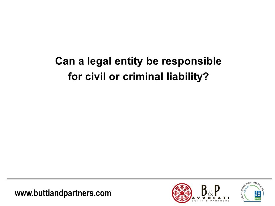 Can a legal entity be responsible for civil or criminal liability