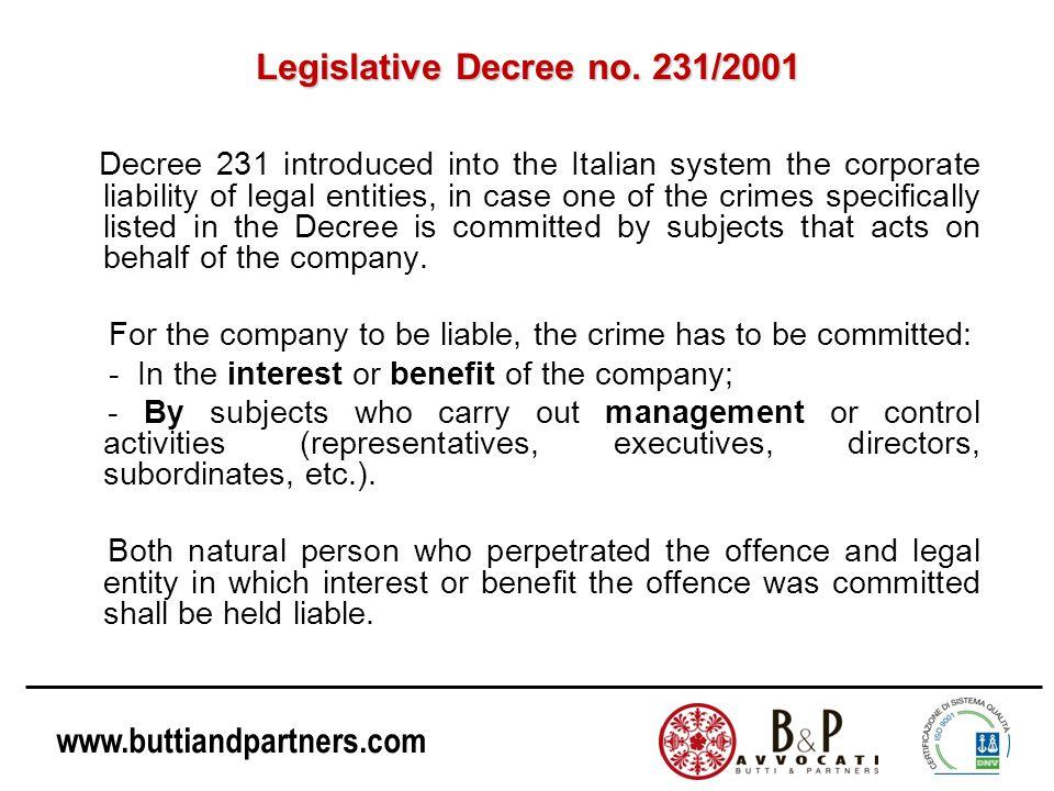 Legislative Decree no. 231/2001