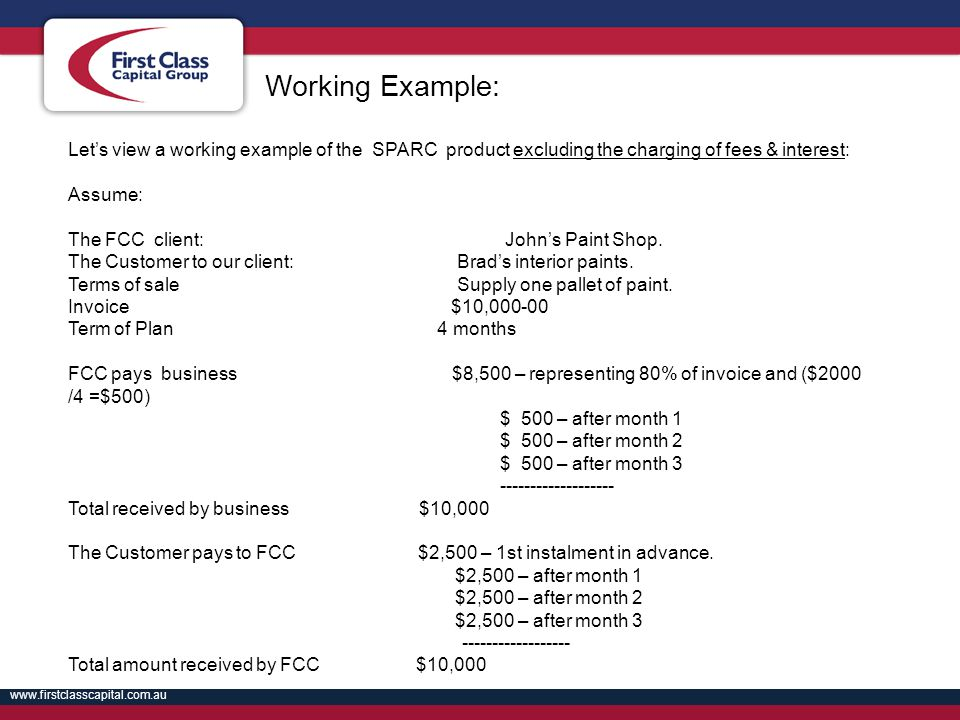 Working Example: Let's view a working example of the SPARC product excluding the charging of fees & interest: