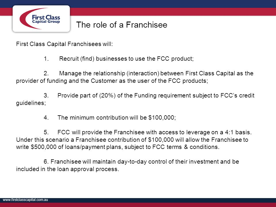 The role of a Franchisee