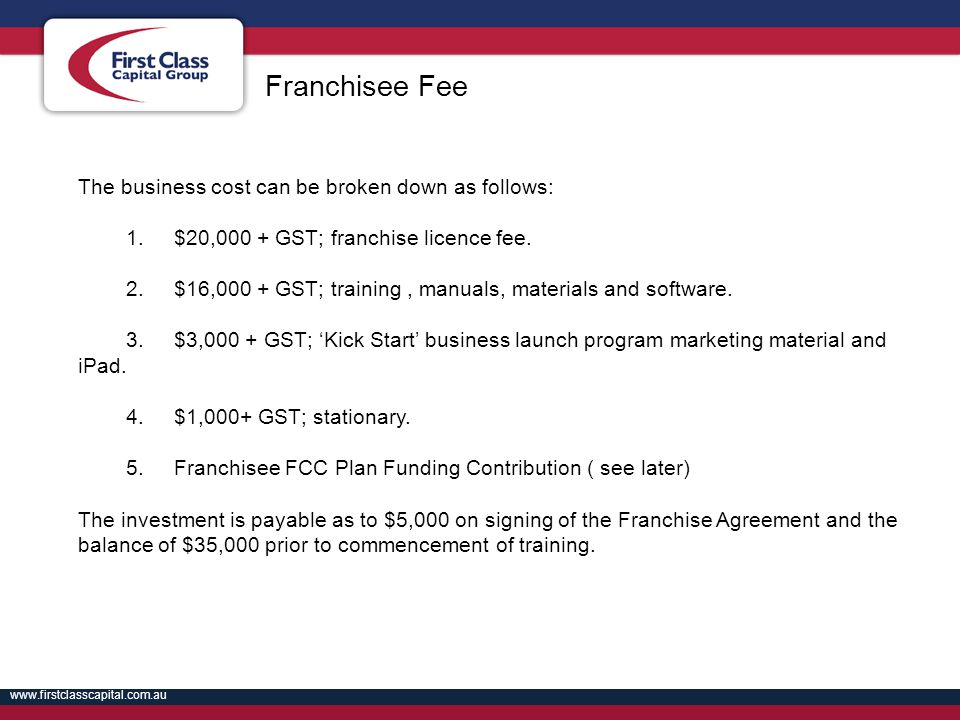 Franchisee Fee The business cost can be broken down as follows: