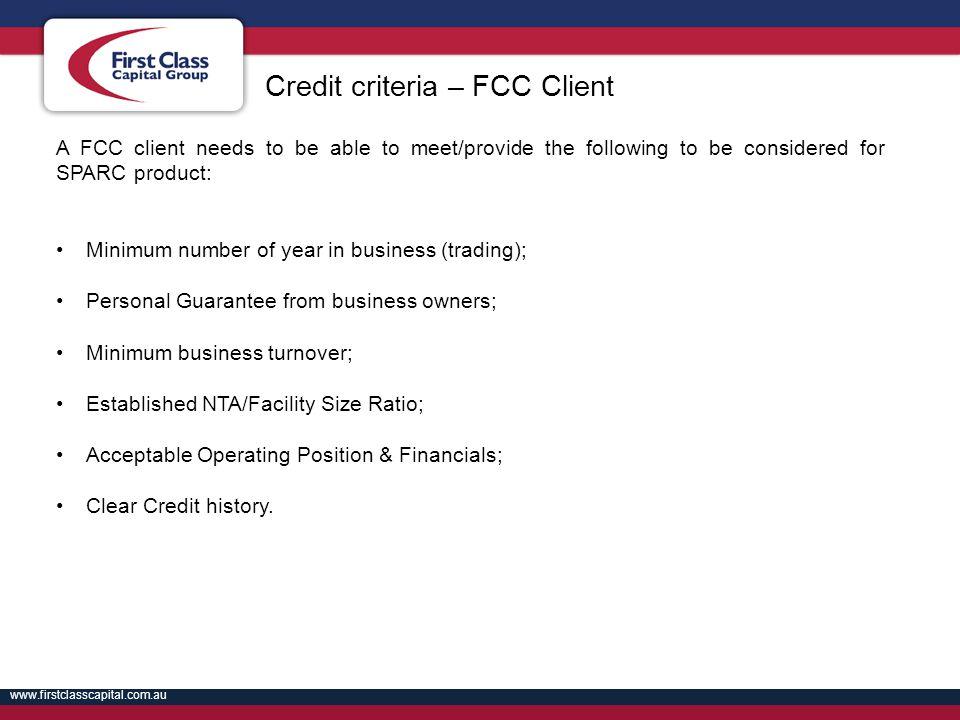 Credit criteria – FCC Client
