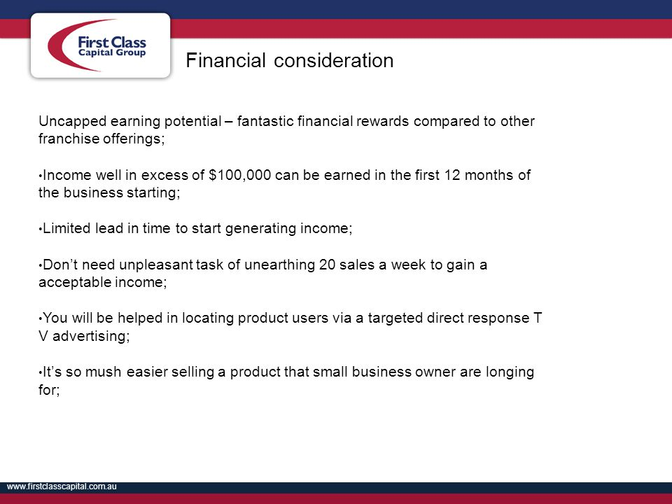 Financial consideration
