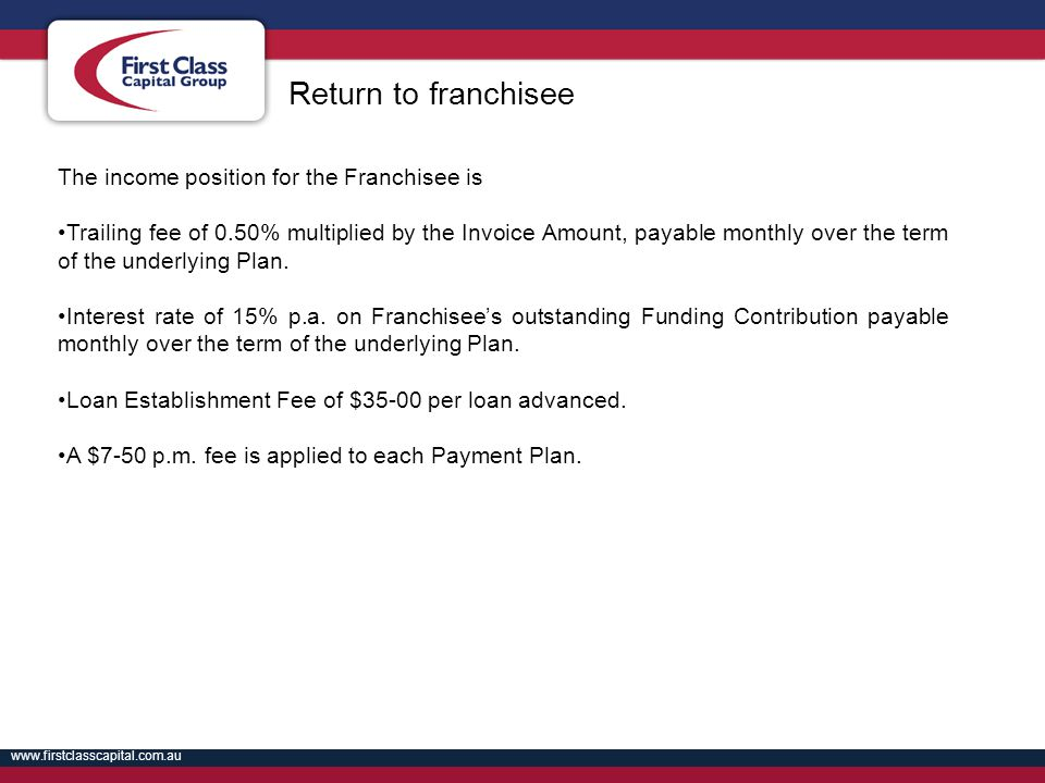 Return to franchisee The income position for the Franchisee is