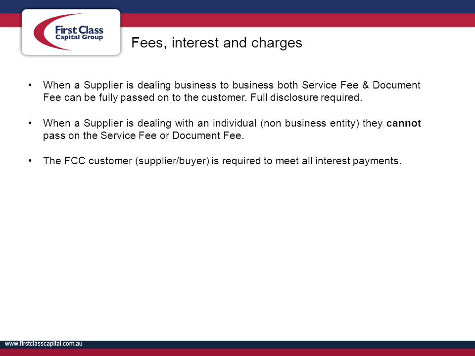 Fees, interest and charges