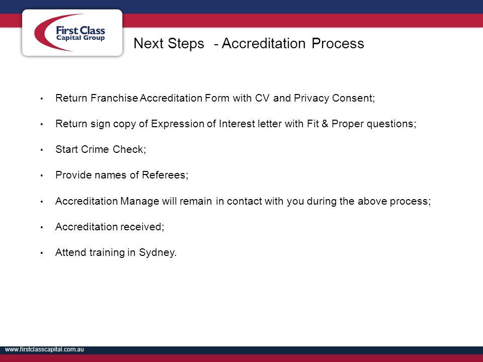 Next Steps - Accreditation Process
