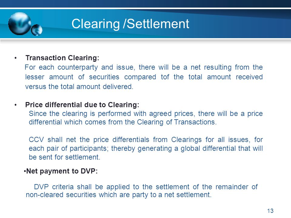 Clearing /Settlement Transaction Clearing: