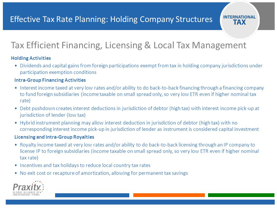 Tax Efficient Financing, Licensing & Local Tax Management