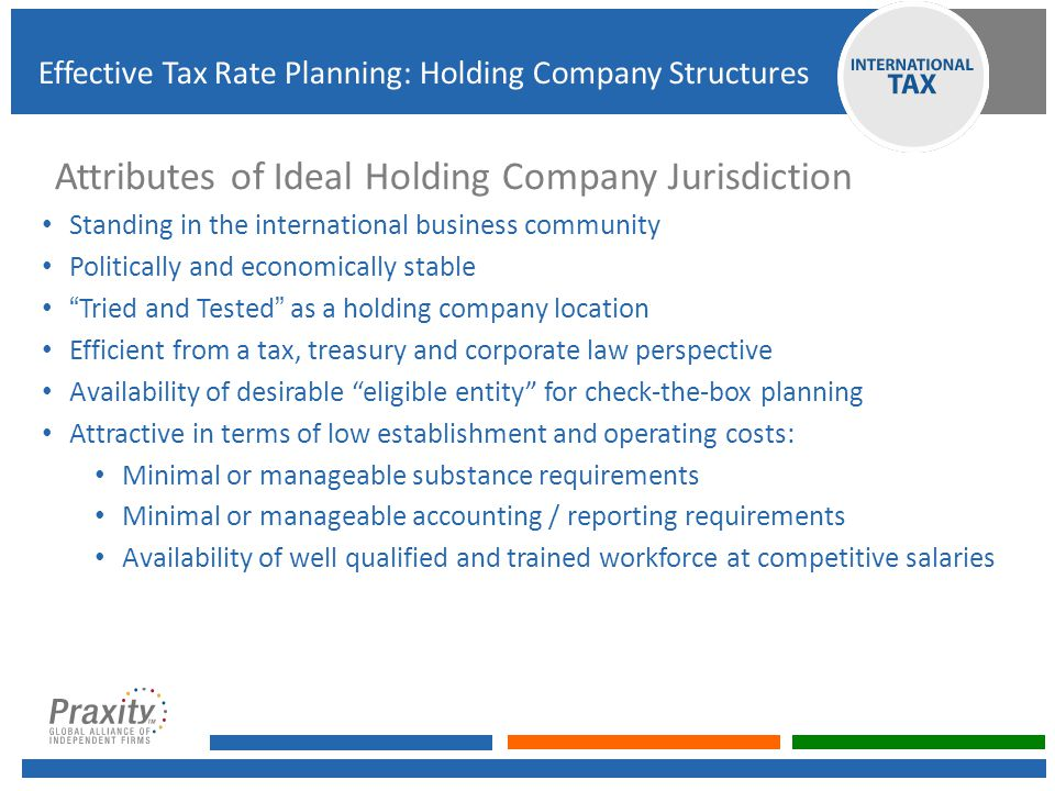 Attributes of Ideal Holding Company Jurisdiction