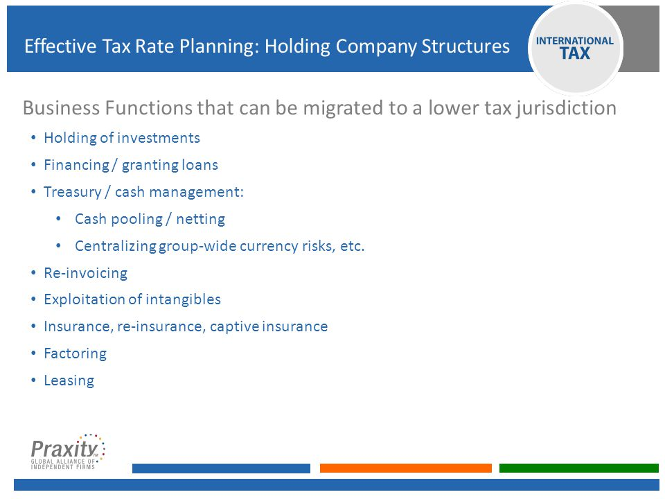 Business Functions that can be migrated to a lower tax jurisdiction