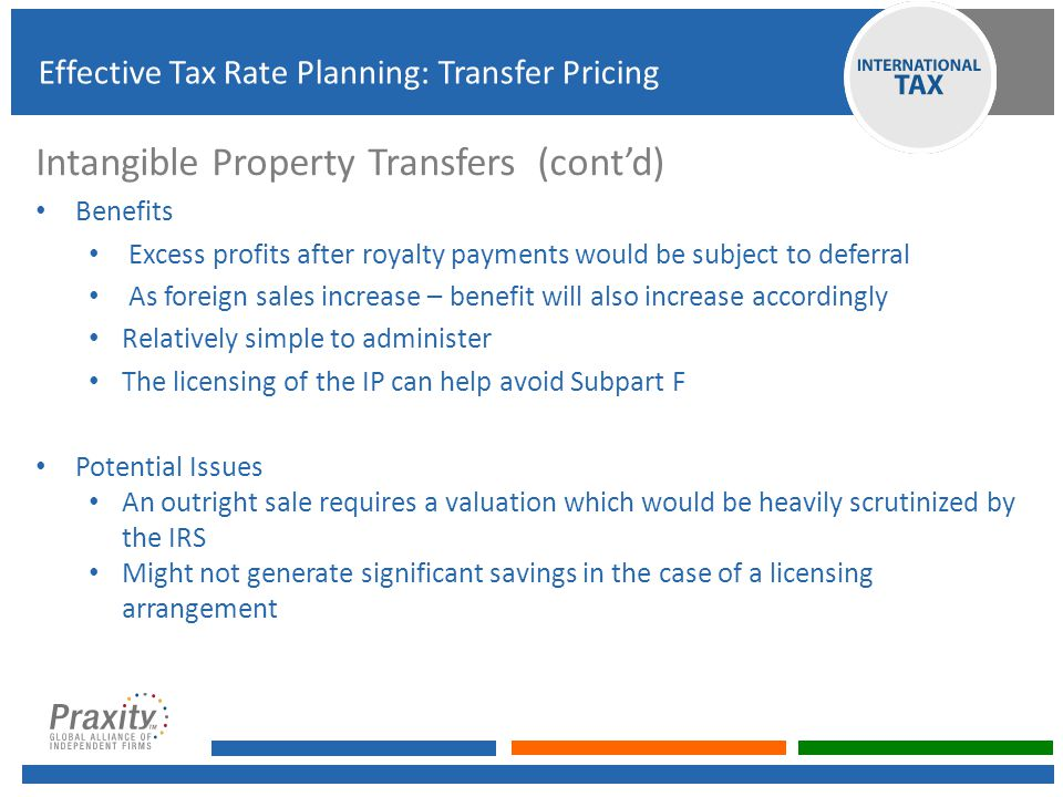 Intangible Property Transfers (cont'd)
