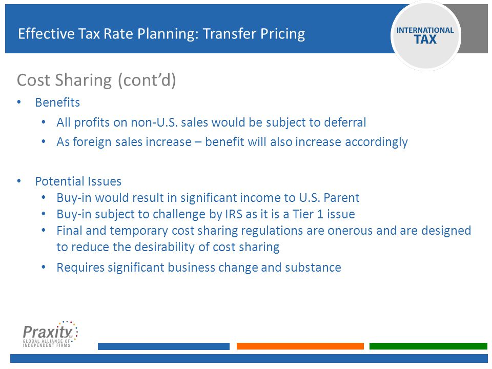 Cost Sharing (cont'd) Effective Tax Rate Planning: Transfer Pricing