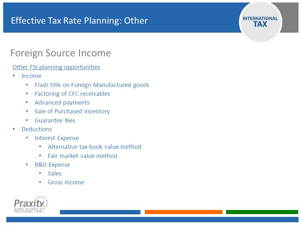 Foreign Source Income Effective Tax Rate Planning: Other