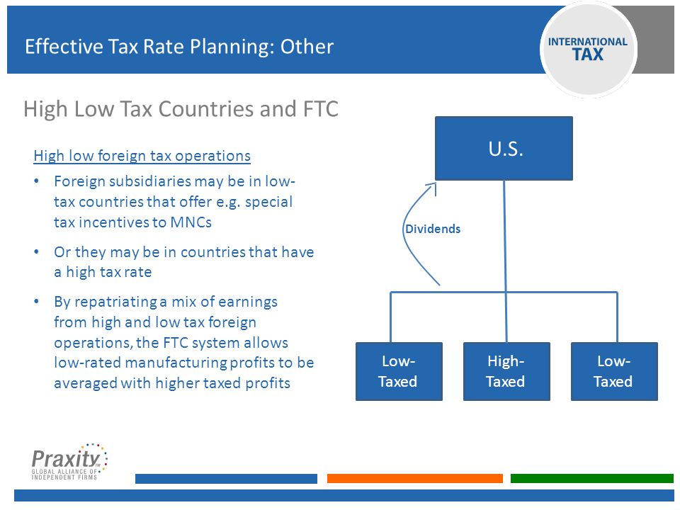 High Low Tax Countries and FTC